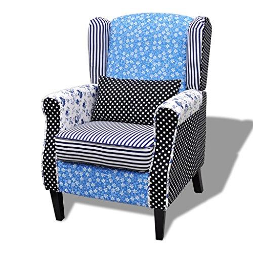 Festnight Patchwork Armsessel Polstersessel Sessel Relaxsessel Loungesessel Blumen Blau &Weiß
