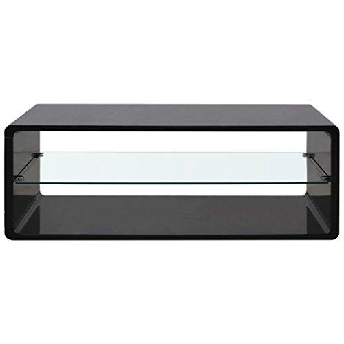 Festnight-Stabile-Couchtisch-Sofatisch-Kaffeetisch-Tisch-Beistelltisch-aus-MDF-Gehrtetes-Glas-110x55x39cm-fr-Wohnraum-Hochglanz-Schwarz-0