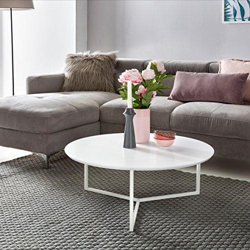 FineBuy Design Couchtisch MDF Holz weiß matt Gestell Metall ø 80 cm | Wohnzimmertisch lackiert Sofatisch modern | Kaffeetisch rund Loungetisch