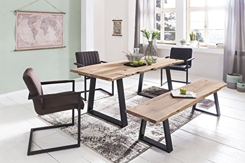 finebuy esszimmer tisch baumstamm massivholz akazie robuster naturholz esstisch mit. Black Bedroom Furniture Sets. Home Design Ideas