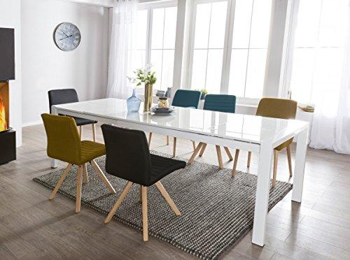 FineBuy Esszimmertisch GLOSS Ausziehbar Esstisch Hochglanz Weiß | Esstisch für 6 - 10 Personen | Design Küchentisch Rechteckig Tisch