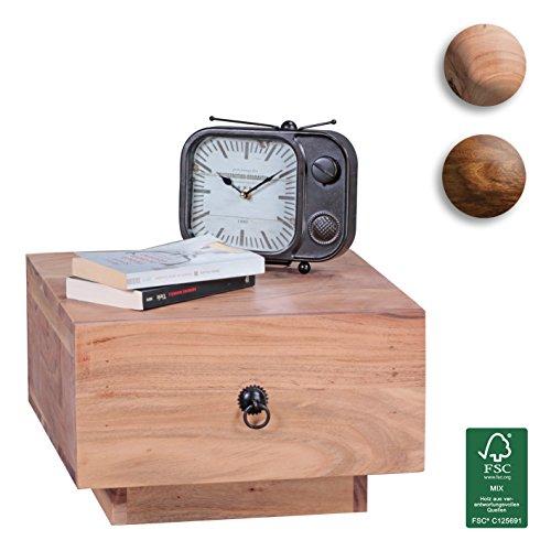 FineBuy-Nachttisch-Massiv-Holz-Akazie-Design-Nacht-Kommode-25-cm-hoch-mit-Schublade-Nachtschrank-Natur-Holz-40-x-40-cm-Nachtkstchen-dunkel-braun-Deko-Nachtkonsole-Landhaus-Stil-Schlafzimmer-Mbel-0