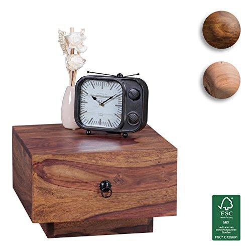 FineBuy-Nachttisch-Massiv-Holz-Sheesham-Design-Nacht-Kommode-25-cm-hoch-mit-Schublade-Nachtschrank-Natur-Holz-40-x-40-cm-Nachtkstchen-dunkel-braun-Deko-Nachtkonsole-Landhaus-Stil-Schlafzimmer-Mbel-0