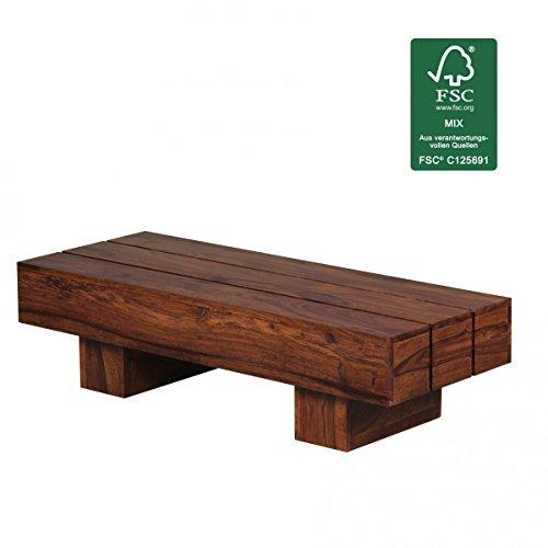 FineBuy Sheesham Couchtisch Massiv 120 x 45 x 30 cm Massivholz