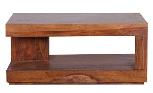 FineBuy Sheesham Couchtisch Massiv 90 x 60 cm mit Ablage Massivholz