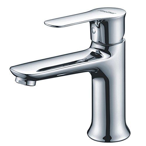 Finether Elegante Waschbeckenarmatur Wasserhahn Mischbatterie für Bad Küche hochglanzpoliert