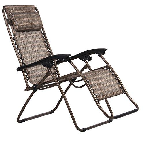 Finether-Gartenliege-Strandliege-Sonnenliege-Sonnenstuhl-Liegestuhl-mit-Kissen-Relaxliege-Kippliege-Klappliege-klappbar-verstellbar-braun-0