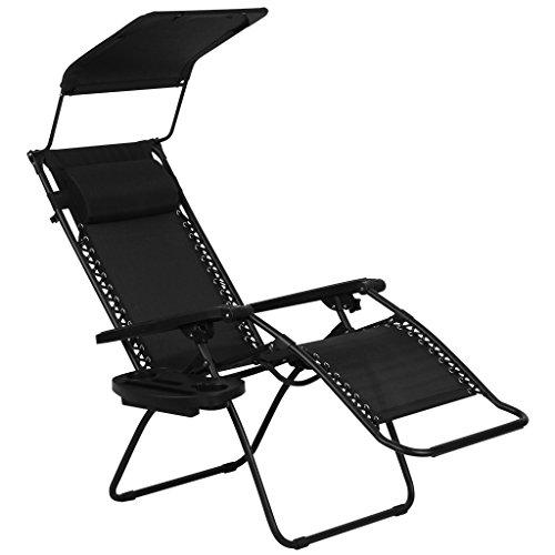 Finether-Gartenliege-Strandliege-Sonnenliege-Sonnenstuhl-Liegestuhl-mit-Kissen-und-Dach-Relaxliege-Kippliege-Klappliege-klappbar-verstellbar-schwarz-0