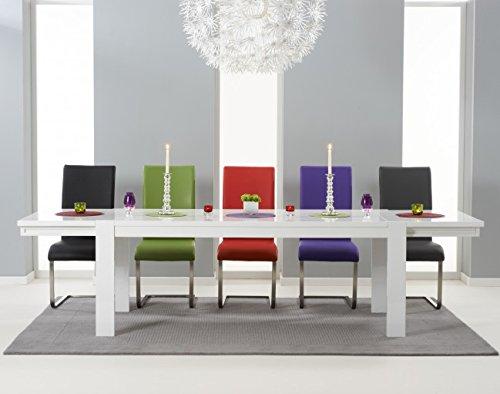 Florenz Hochglanz 3m Ausziehbarer Esstisch mit 12grün Stühle