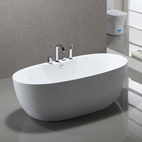 Freistehende Badewanne Kiel 170x80cm Sanitäracryl Weiß Modern Inklusive Armatur