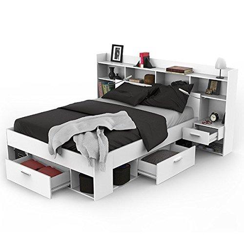 Funktionsbett inkl Regalwand + Beleuchtung + 3 Bettschubkästen weiß 140*200 cm Kinderbett Jugendbett Jugendliege Bettliege Schlafzimmerbett