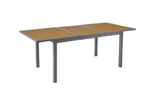 GARTENFREUDE-Gartenmbel-Aluminium-Garten-Tisch-ausziehbar-147200-x-90-x-75-cm-mit-Non-Wood-Platte-teakfarben-0