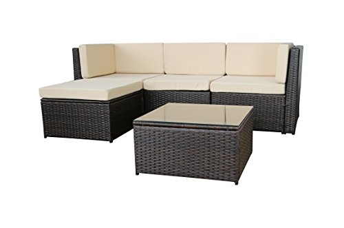 GARTENFREUDE-Gartenmbel-Lounge-Gartenset-Garnitur-Sitzgruppe-Polyrattan-13-teilig-Aluminiumgestell-bicolour-braun-wetterfest-inklusive-Kissen-0