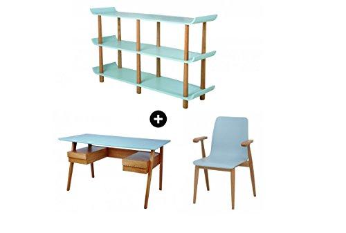 Galdem-Retro-Schreibtisch-Stuhl-Regal-Brombel-Set-Holzfe-Brostuhl-Computertisch-Arbeitstisch-Brotisch-PC-Tisch-Bcherregal-Standregal-Esche-Blau-0