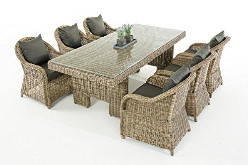 Garten-Garnitur CP065, Sitzgruppe Lounge-Garnitur, Poly-Rattan ~ Kissen anthrazit, natur