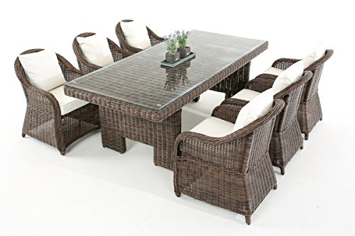 Garten-Garnitur CP065, Sitzgruppe Lounge-Garnitur, Poly-Rattan ~ Kissen cremeweiß, braun-meliert