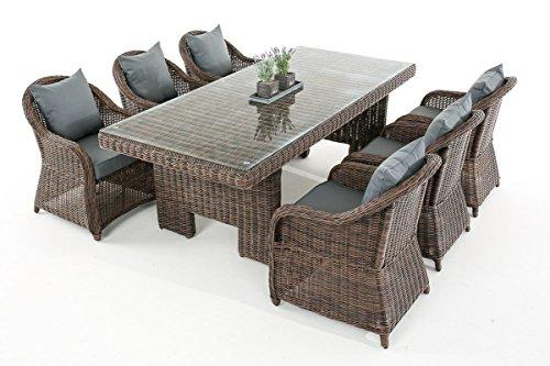Garten-Garnitur CP065, Sitzgruppe Lounge-Garnitur, Poly-Rattan ~ Kissen eisengrau, braun-meliert