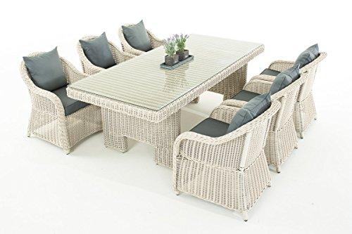 Garten-Garnitur CP065, Sitzgruppe Lounge-Garnitur, Poly-Rattan ~ Kissen eisengrau, perlweiß