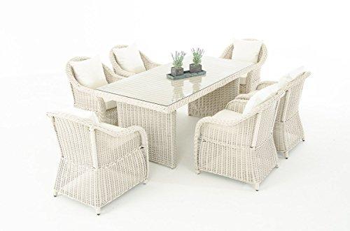 Garten-Garnitur CP071, Sitzgruppe Lounge-Garnitur Poly-Rattan ~ Kissen creme, perlweiß