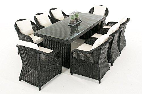 Garten-Garnitur CP071 XL, Sitzgruppe Lounge-Garnitur Poly-Rattan ~ Kissen cremeweiß, schwarz