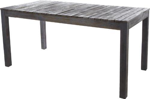 Gartenfreude Tisch Gartentisch aus Akazien Holz Akazienholz, Grau-Braun, 160 x 80 x 75 cm (LxBxH)