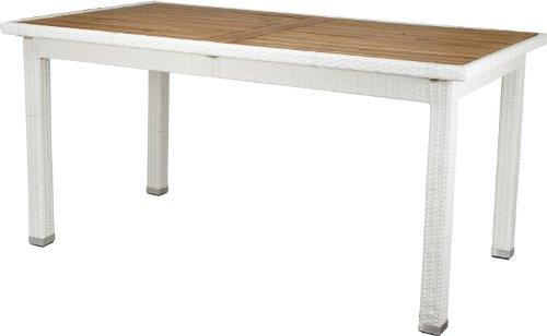 Gartenfreude Tisch Polyrattan, Aluminiumgestell mit Akazienholz, Weiß, 160 x 90 x 75 cm (LxBxH)