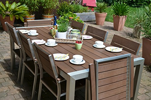 Gartenmöbel Miami Tisch 200x100 + 6 Stapelstühle und 2 Hochlehner 8 Personen Holzdekor dunkel, Polywood und Aluminium Edelstahl beschichtet