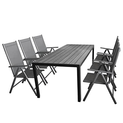 Gartenmöbel-Set 7tlg. Sitzgarnitur mit Aluminium, Polywood Gartentisch + 6x verstellbare Aluminium Hochlehner mit Komfortbespannung Anthrazit