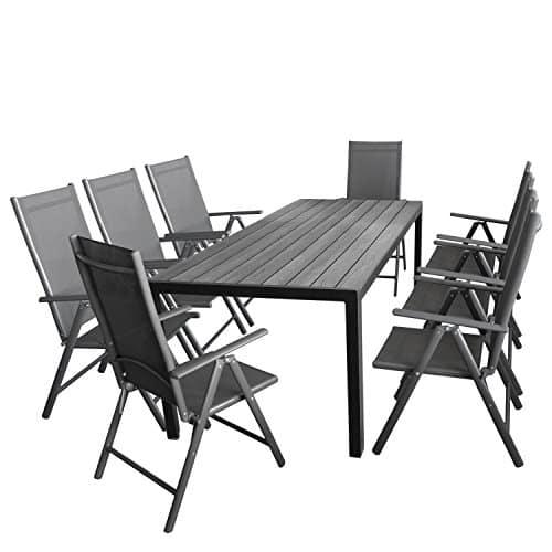 Gartenmöbel-Set 7tlg. Sitzgarnitur mit Aluminium, Polywood Gartentisch + 8x verstellbare Aluminium Hochlehner mit Komfortbespannung Anthrazit