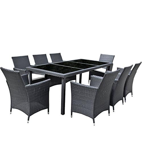 gartenm bel set 8er sitzgruppe essgruppe asviva dining exklusive premium polyrattan schwarz. Black Bedroom Furniture Sets. Home Design Ideas