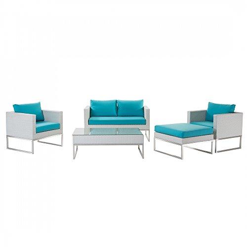Gartenmbel-Set-aus-Edelstahl-und-Rattan-Tisch-Sofa-2x-Sessel-Ottoman-CREMA-trkis-0
