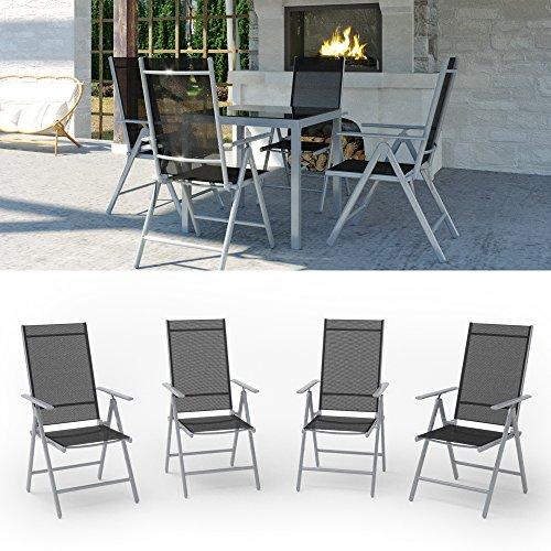 Gartenmöbel Sitzgruppe Gartengarnitur Gartenset Sitzgarnitur Glas Alu Tisch 87x87 + 4 Stühle