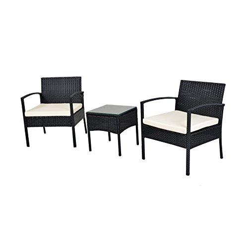 Gartenmbelset-Gartengarnitur-Sitzgruppe-Lounge-Garnitur-Polyrattan-1-Tisch-2-Sthle-Schwarz-mit-Weien-Kissen-0