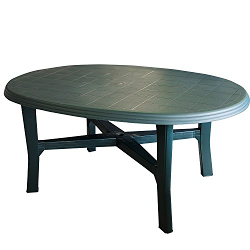 Gartentisch 165x110cm, oval, grün - Vollkunststoff / Terrassentisch Beistelltisch Campingtisch Gartenmöbel Terrassenmöbel Campingmöbel Kunststofftisch