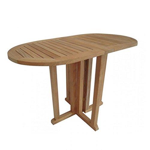 Gartentisch-Teak-Tisch-klappbar-Teaktisch-oval-Balkontisch-120x60cm-Gartenmbel-Holz-0