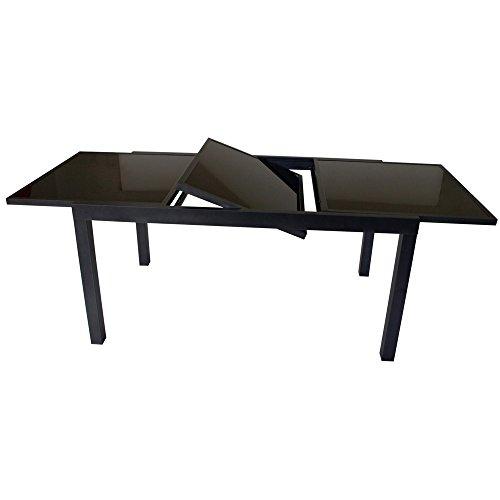 Gartentisch-Torino-150210x90x75cm-ausziehbar-Alu-Glas-Schwarz-pulverbeschichtet-0