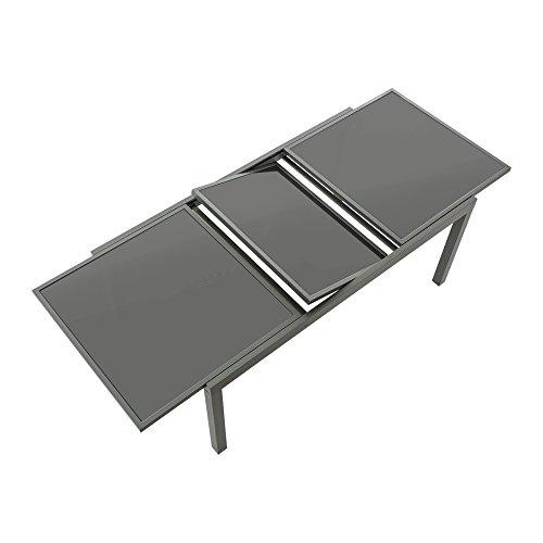 Gartentisch ausziehbar Aluminium Glas grau Länge 180 bis 240 x Breite 100 cm