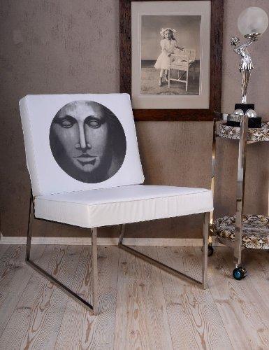 Glamourser-Loft-Sessel-im-Bauhaus-Stil-Weiss-Medaillon-Chrom-0