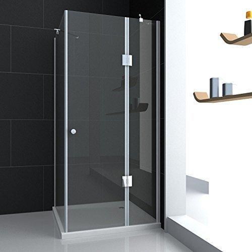 Glas Dusche Duschabtrennung Duschkabine + Antirutsch Duschwanne + Ablaufgarnitur 80x80x190 cm mit Lotus Effekt