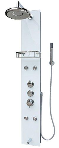 Glas Duschpaneel Duschsäule Duschsystem Armatur Duscharmatur Handbrause Duschkopf Wanneneinlauf Armatur Regendusche Massagedüsen Schwarz Weiss