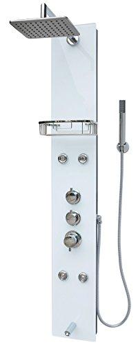 Glas Duschpaneel Duschsäule Duschsystem Regendusche Duscharmatur Handbrause Duschkopf Wanneneinlauf Armatur Massagedüsen Regendusche Schwarz Weiss
