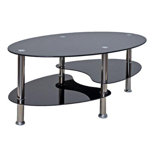 Glastisch beistelltisch schwarz couchtisch oval edelstahl for Glastisch schwarz