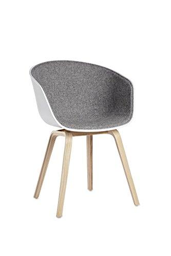 HAY - About a Chair AAC 22 - Spiegelpolsterung - Hallingdal 130 - Schale weiß - Hee Welling - Design - Esszimmerstuhl - Speisezimmerstuhl