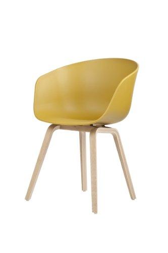 HAY Stuhl About a Chair AAC 22 - senfgelb, Beine Eiche, Schale Polypropylen, Esszimmerstuhl - Küchenstuhl - Speisezimmerstuhl