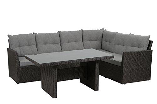 H.G. Gartenmöbel-Set Calvia Lounge 3-teilig inklusive Kissen, grau