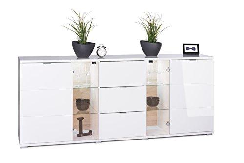 HIGHGLOSS Kommode in Weiß Hochglanz mit 2 Türen mit zwei horizontalen Rillen aufgeteilt, 2 Glastüren mit je 2 Glasböden, 3 Schubkästen, 2 schmale Einlegeböden, inkl. LED-Beleuchtung