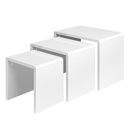 HOMFA Lanshaus 3er-Set Beistelltisch weiß hochglanz-lackierter Sofatisch Couchtisch Wohnzimmertisch 30-50KG belastbar