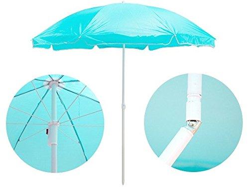 HUKITECH Stabiler höhenverstellbarer Sonnenschirm mit Knickgelenk (ø 160 cm) für Balkon und Garten