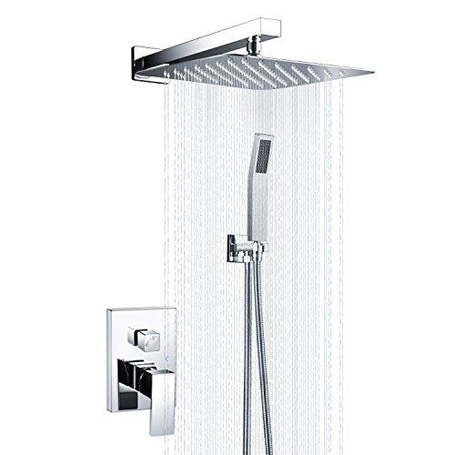 Handbrause, Badezimmer Luxus Regenmischer Dusche Combo Set Wandmontierte Niederschlag Duschkopf System Poliert Chrom SRSS-5043S
