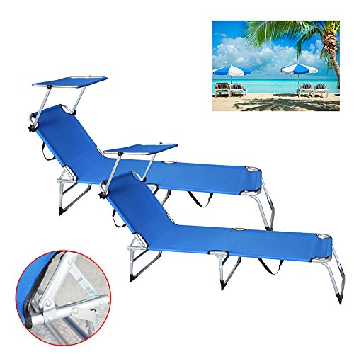 Hengda® 2X Alu Liege Sonnenliege Strandliege Strandsessel Gartenstuhl Gartenliege Liegestuhl Mit Sonnendach, blau
